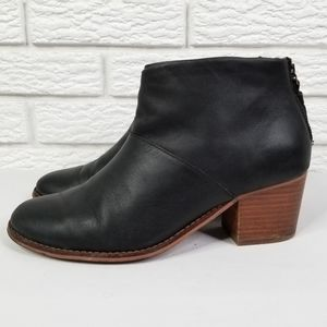 TOMS Leila Ankle Zip Boots 8.5 Black Leather